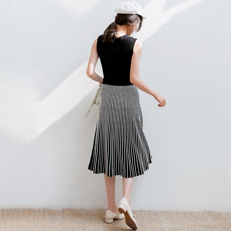 cibMp u8nbL agraciado de hielo plisado plisado 2020 el nuevo vestido que adelgaza la cinta de vestir de seda elegantes mujeres de la falda de punto superior traje de dos piezas