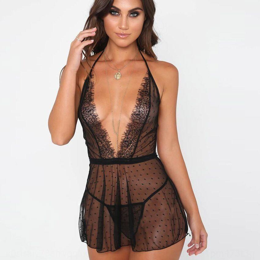 DIJge Grande tamanho cueca perspectiva preto pijamas Roupa interior pontilhadas malha bonito pijama sensuais nightdress sexy 1174
