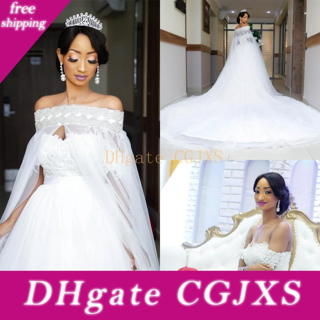 Arabisch weiß elegante weg von der Schulter Brautkleider mit Cape Zuge Overskirt Kristallspitze Braut Brautkleider mit abnehmbarem Rock