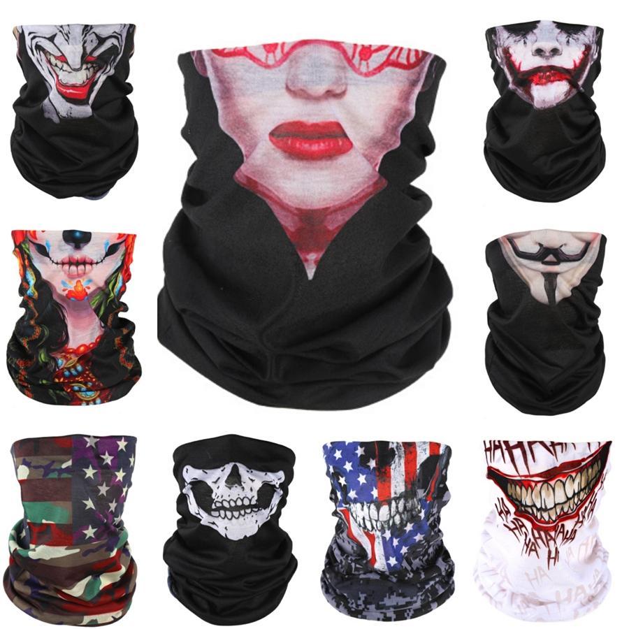 2020 Unisex Halloween Cosplay sci biciclette Skull Maschera di protezione mezza del cranio del fantasma Sciarpa Bandana scaldacollo Partito fascia magica Turba # 825 # 907