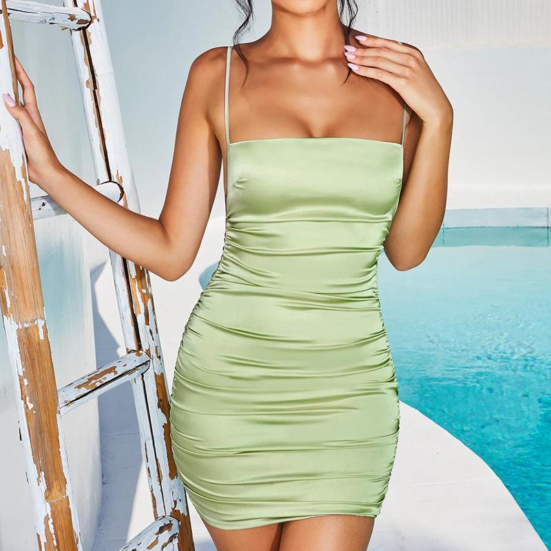 2020042337 tirante de espagueti del mini vestido sin espalda satinado vestido atractivo de las mujeres del partido del vendaje de Bodycon Cruz plisado corto tramo del club del vestido