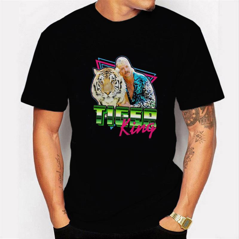 Tops 2020 grátis Joe Exotic camiseta Homens O Tiger Rei T camisa de manga curta Camisetas masculinas de Verão Tees Cotton T-shirts Streetwear