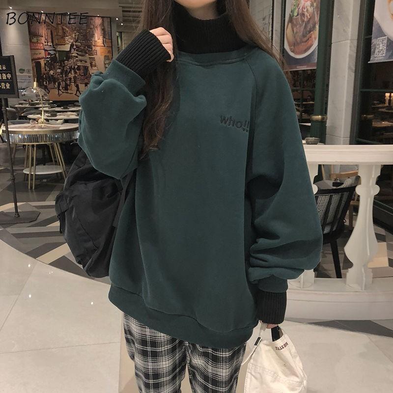 felpe, autunno-inverno, ricamo di modo, stile coreano, casual e semplice, vestiti larghi delle donne ulzzang, street wear Chic