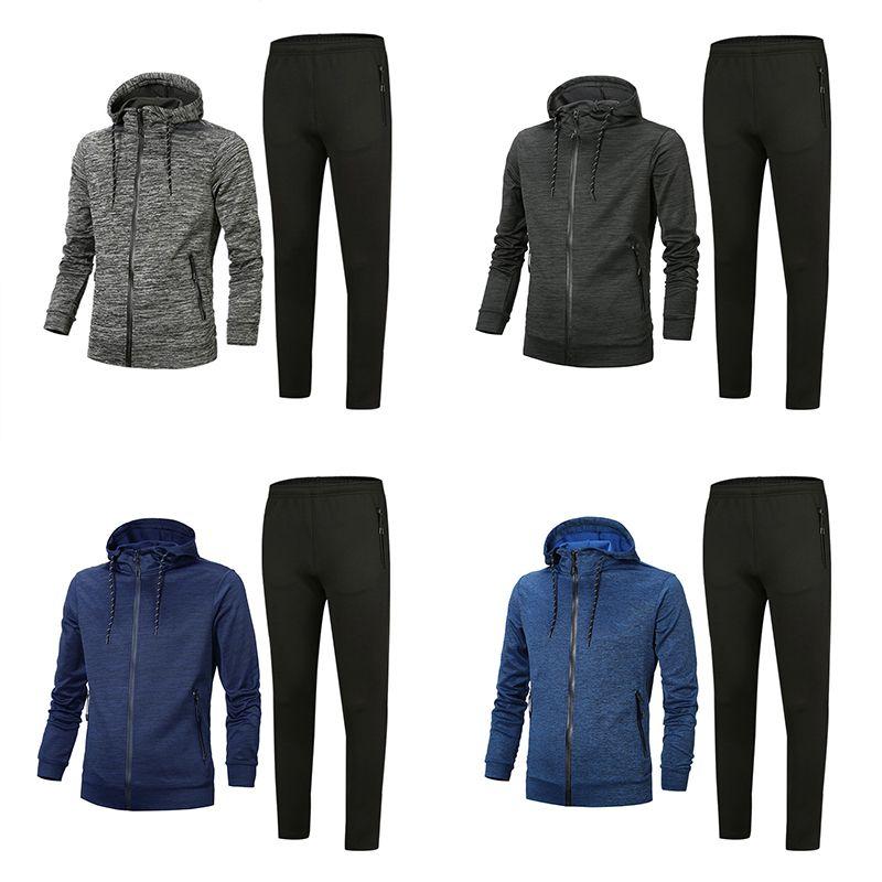 Hommes Woemss Tracksuit 2020 Version supérieure Spring Automne Mens de Coton Mélange Tracksuits Tops + Pantalons Mens Veste Casual Veste Sport Sport Asiatique Taille