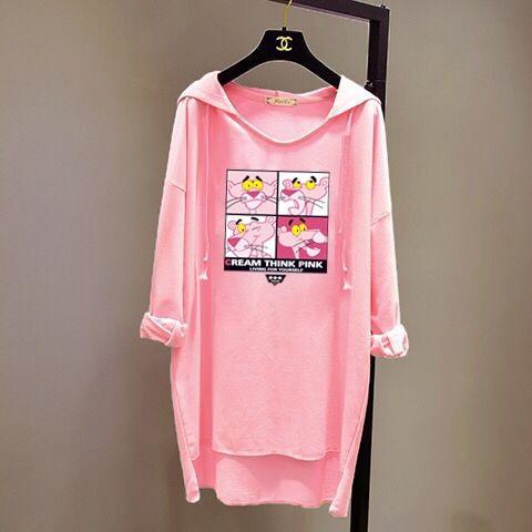 lZZWU 2019 Frühling und Herbst Kleidung Korean mittellange loser große T- Frauen einfacher T-Shirt Schläger lange Ärmel Stil s mit Kapuze Pullover Fledermaus