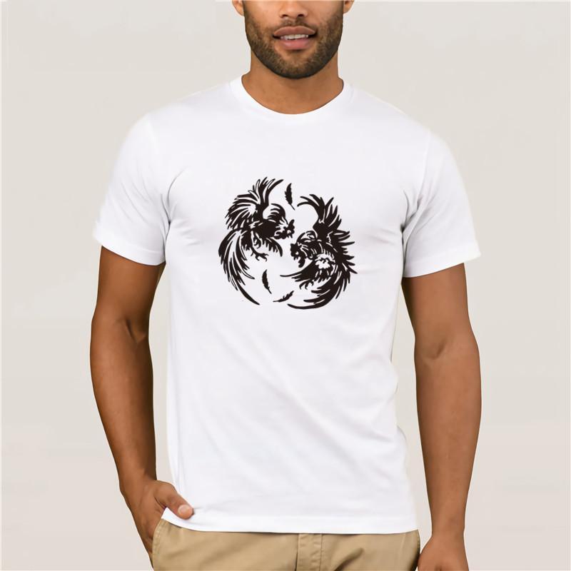 Мужские печати Casual 100% хлопок T-Shirt Популярные Личность Мужчины Футболка Ying Yang Галлос По Rollinlow Black Men Хлопок Tee Shirt