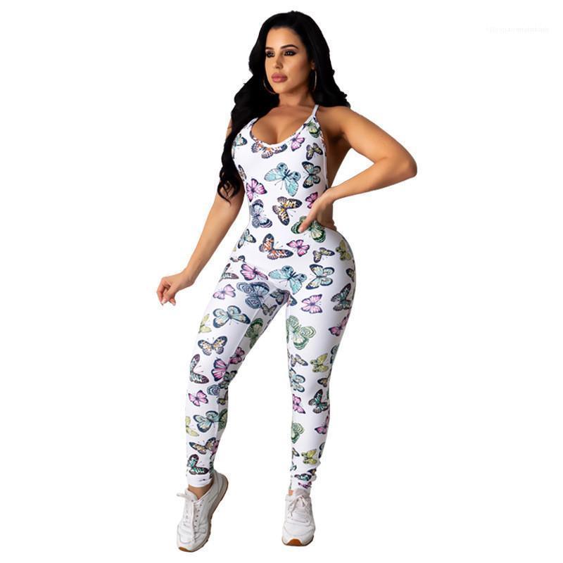 Out Strampler Mode lange Hosen-beiläufige Bodysuit-Sommer-Frauen Sexy Designer Jumpsuits Spaghetti ärmelHohl