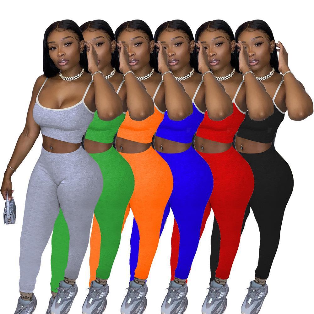 Kadınlar İki adet Kıyafetler Katı Renk Suspender En Çizgili Kenar Yaz Bayanlar Casual Eşofman Seksi Sling Pantolon Artı boyutu Giyim