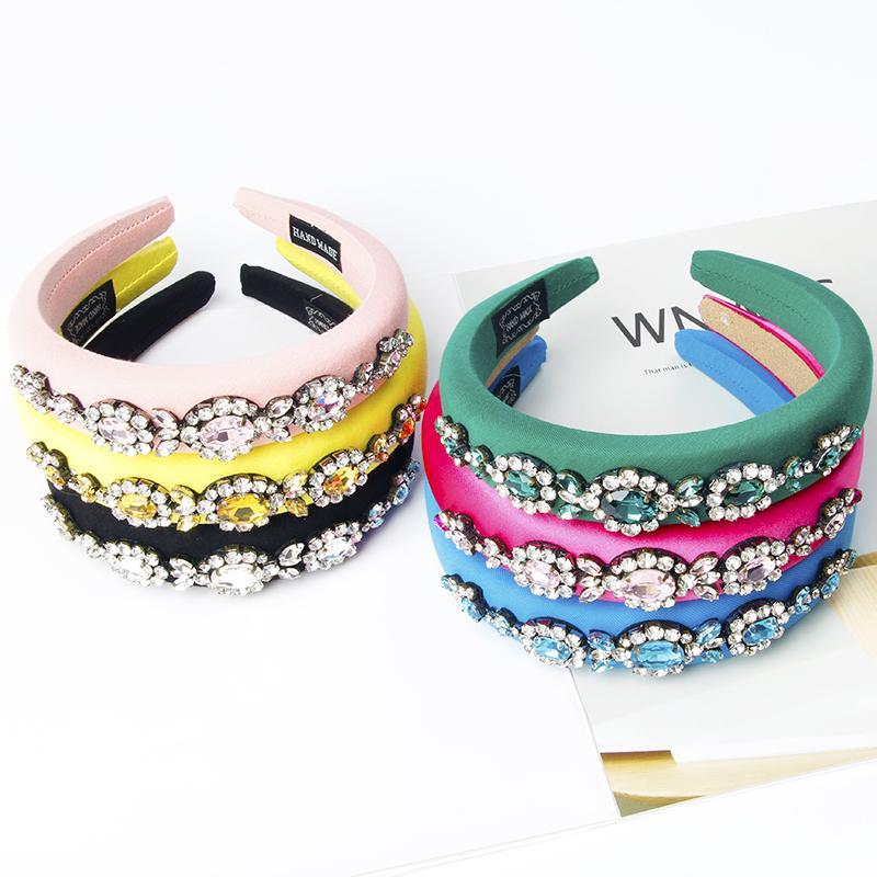INS beliebte verdicken Breite farbigen Schwamm Stirnband Strass Luxus-Mode europäischen und amerikanischen Verkauf