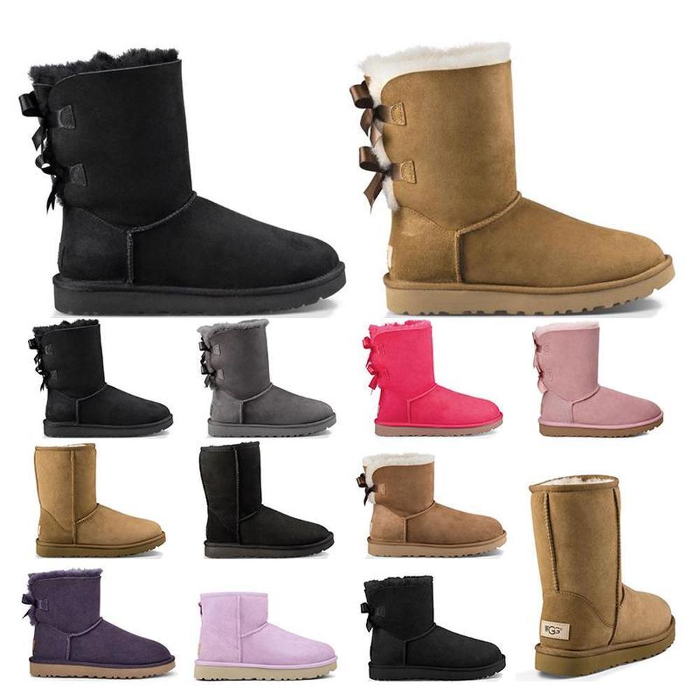 Nueva Australia las mujeres chica clásicas botas de tobillo de la nieve arco corto de arranque de piel para el invierno de castaño negro zapatos de las mujeres del tamaño 5-10 de la moda al aire libre