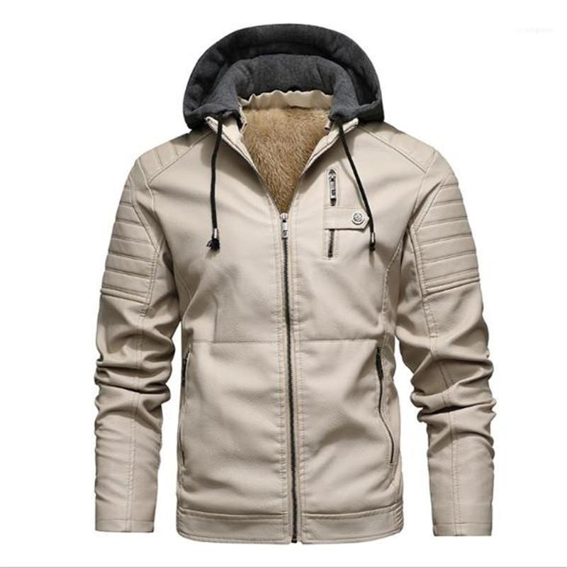 Leather Herren Designer-Jacke Fashion Thick Fleece Langarm mit Kapuze Jacken-Oberbekleidung neue Mens Winter-Kleidung PU