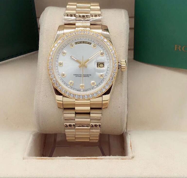 New Qualidade DayDate mens 36 milímetros Mecânica inoxidável 316L Movimento automático Luxo diamante Relógios de pulso de ouro branco