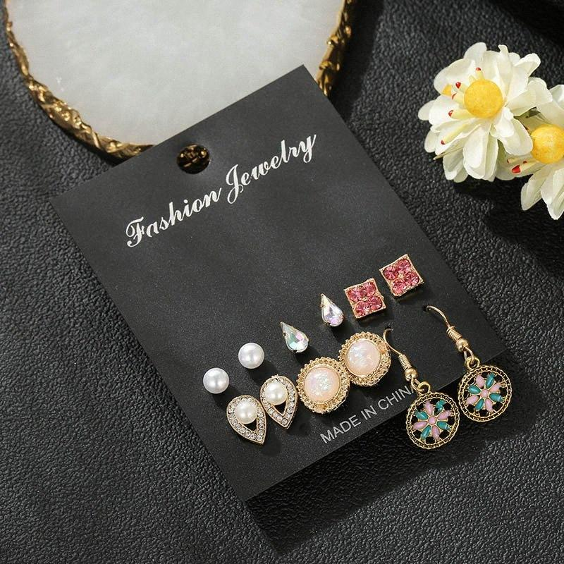 6 pairs/set geometric statement round square water drop design stud earrings for women elegant rhinestone pearl wedding earring CiWH#