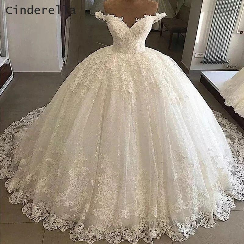 Длина Cinderella V-образным вырезом Выкл Shouder пола Тюль блестки кружева аппликация Принцесса бальное платье свадебное платье невесты платье Lace