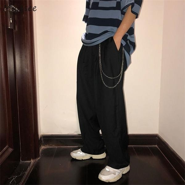 Pantalons simple solide simple de grande taille jambe large pantalon Tout match en vrac Chic Mens coréenne style rétro Harajuku Ulzzang Ins Nouveau
