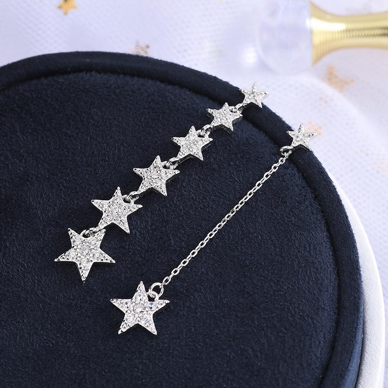 S925 Silver корейского стиль Алмазного Набор Циркон Пятиконечной звезда стержень ухо выглядит Thin Face Star кисточка Asymmetric серьга Один Dropshipp продукта