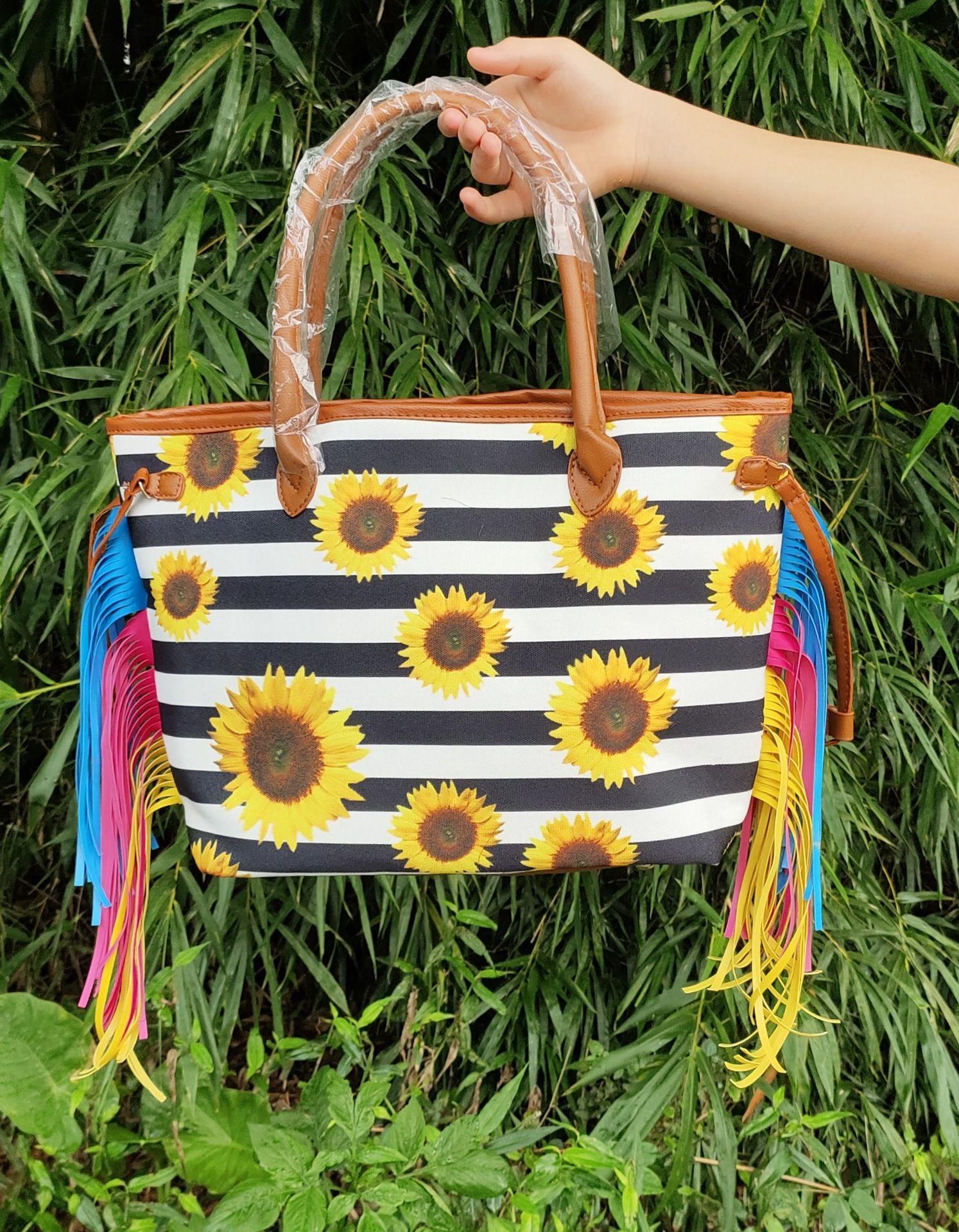 Nouvelle imprimé léopard sac à main des femmes de tournesol sac fourre-tout Weekender sac à bandoulière tie dye avec pompon colorlful