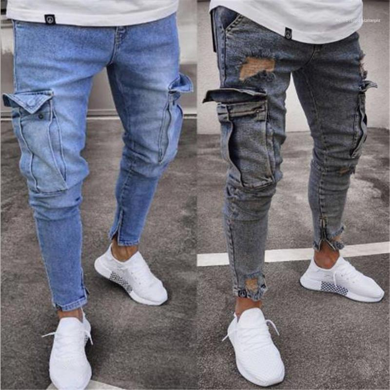 Yıkanmış Kalem Jeans Casual Slim Jeans Sokak Stili Erkek Giyim 19AW Erkek Jeans Moda ve Distrressed Elastik