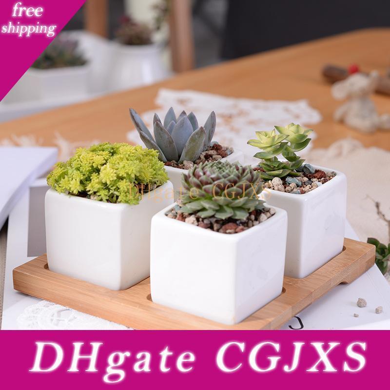 New Design Set Of Minimalist Cube Flowerpot White Ceramic Succulent Plant Pot With Bamboo Stand Bonsai Planter Garden Supply