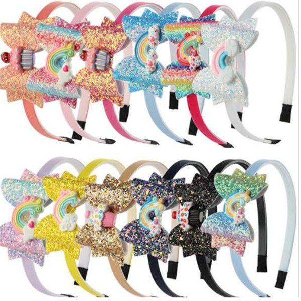 Bebek Gökkuşağı Unicorn Kafa Pullu Meyve ilmek Saç Karikatür Kız Çocuklar Parlayan Bow Baş bandı Çocuk Saç Aksesuarları Sticks. .