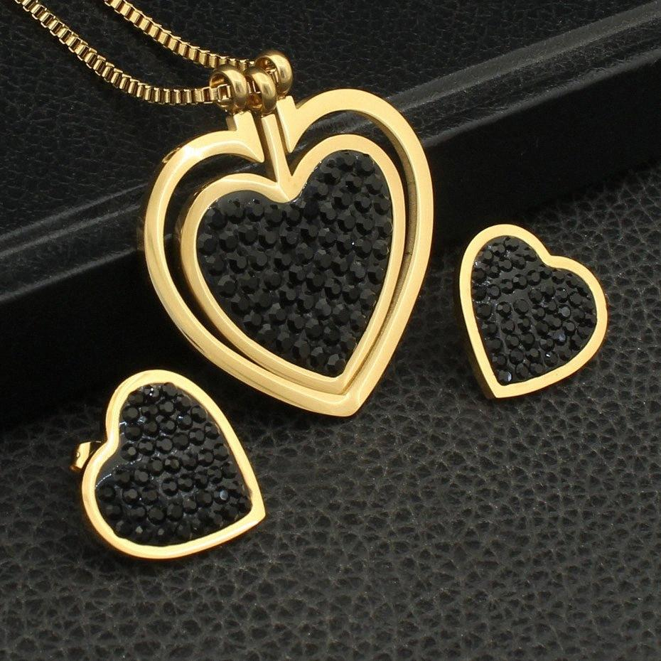 Joyas estilo do coração da cor do ouro Colar Stud Brincos Mais novos conjuntos de jóias de aço inoxidável quente para Mulheres Moda Bijuterii SEDZFNCC KMmU #