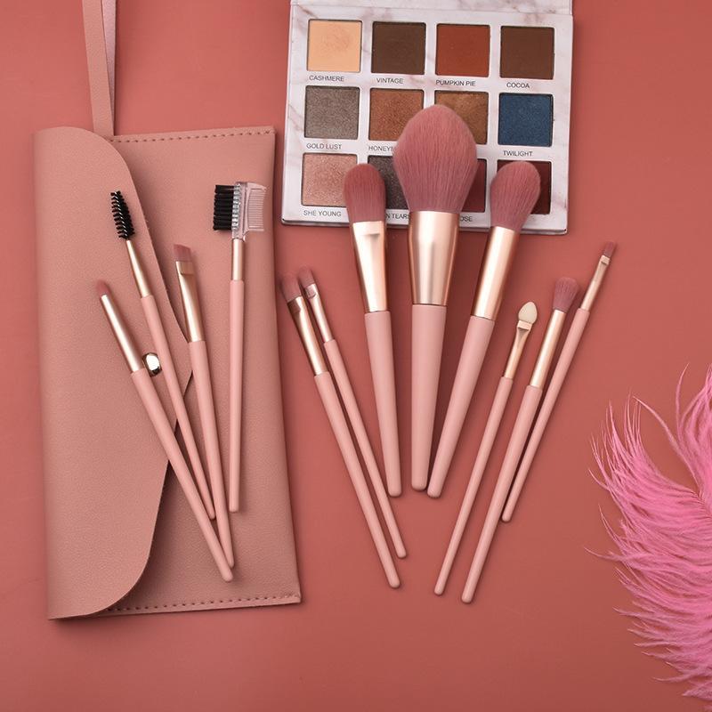 Pennelli per il trucco 7pcs / 12pcs Nudo Pink Beauty Tool Kit Allentato Polvere Blush Eye Shadow Brush Pack