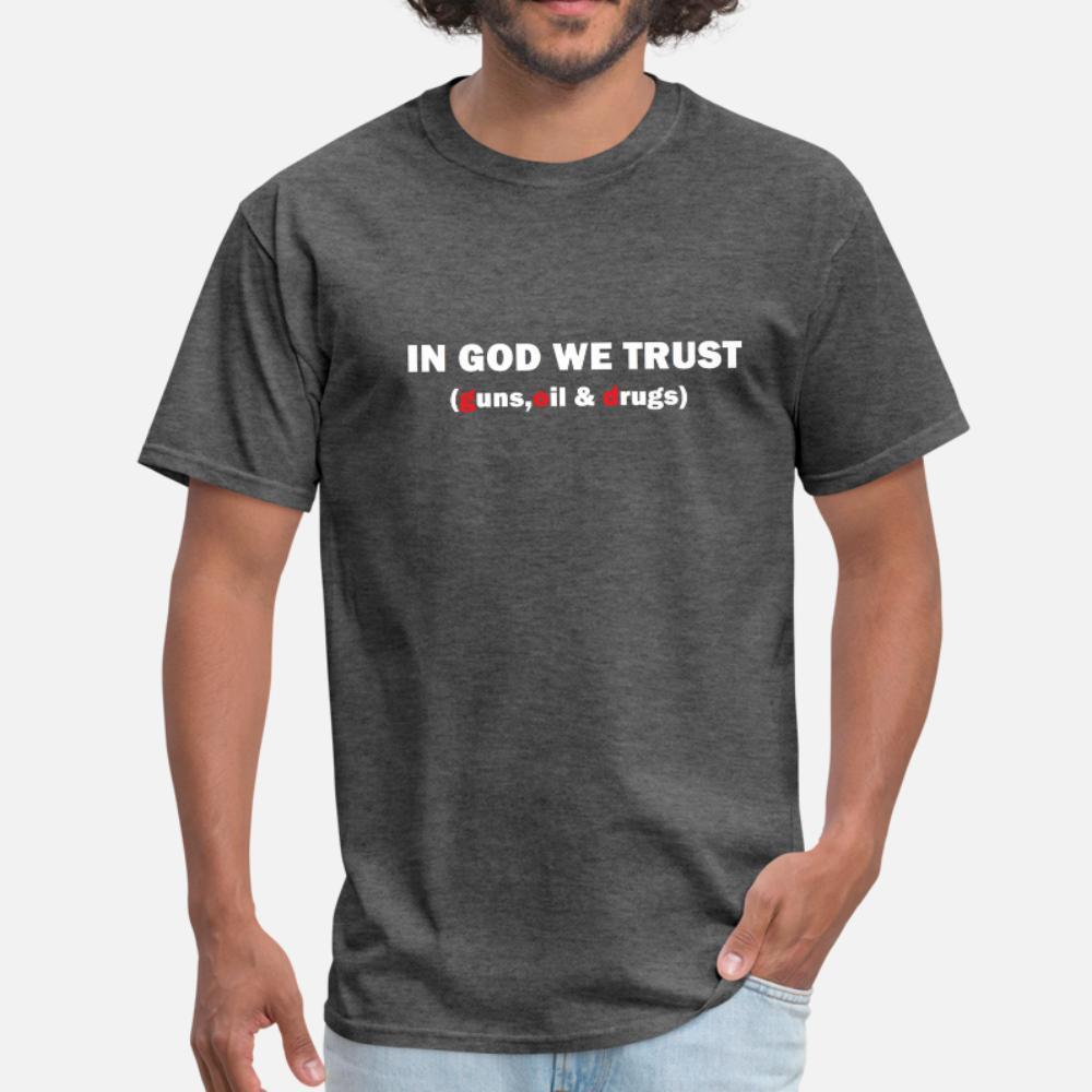 En dios confiamos en la camiseta de los hombres flojos 100% de algodón de cuello redondo unisex ocasionales flojas del resorte de la vendimia
