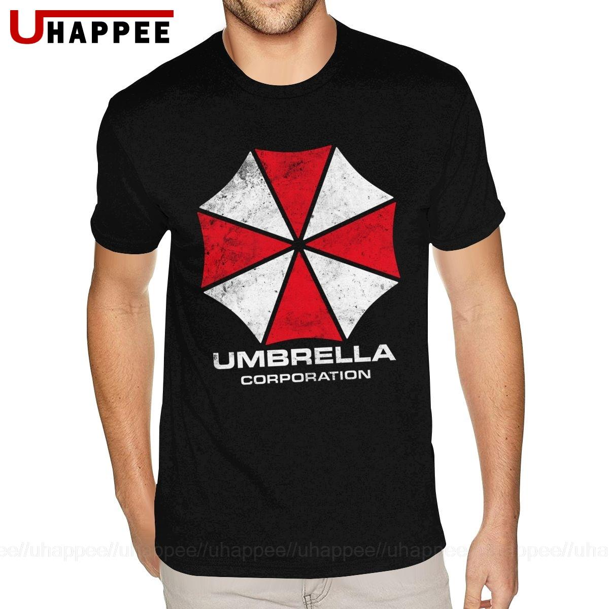 Impressão Vintage Umbrella Corporation T para homens personalizado de manga curta premium Algodão Crew Neck Tees Camisa