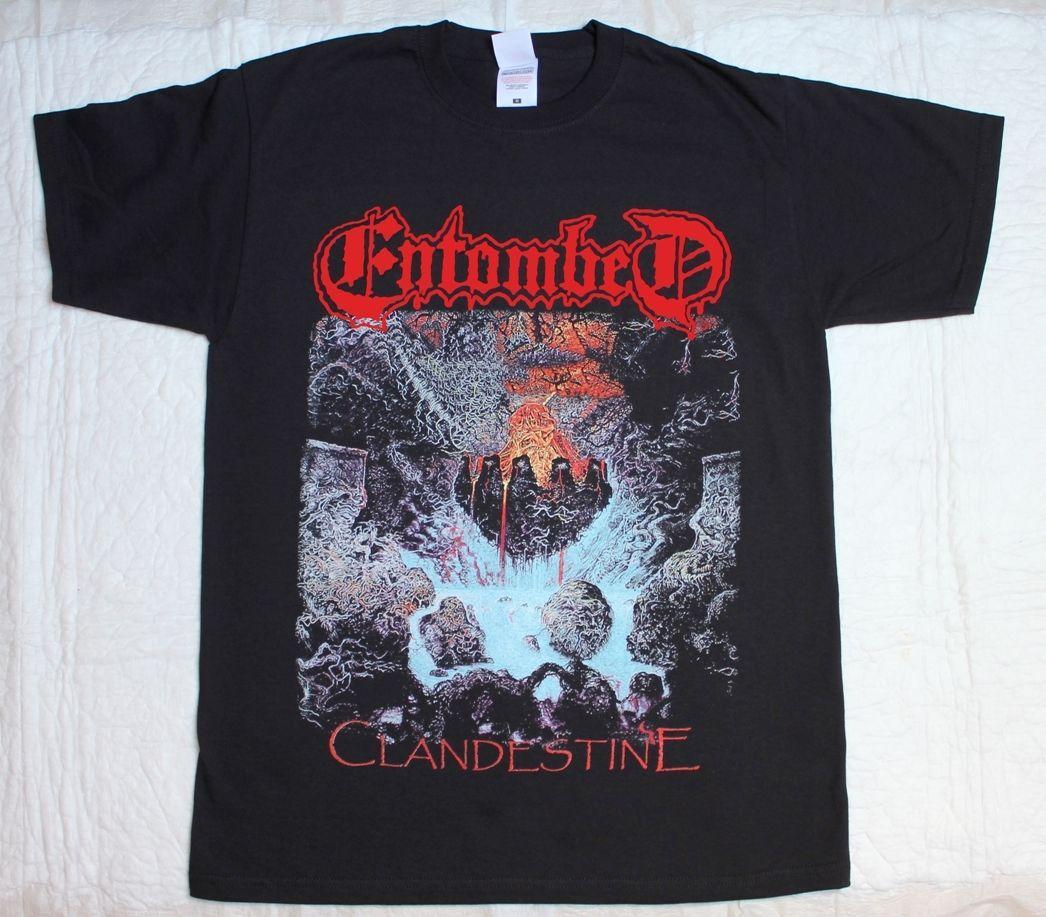 Entombed Clandestine'91 Death Болт Метатель развязали Nihilist Черная футболка мужская Printed Фитнес Футболка Подарок Плюс Размер S-5xl