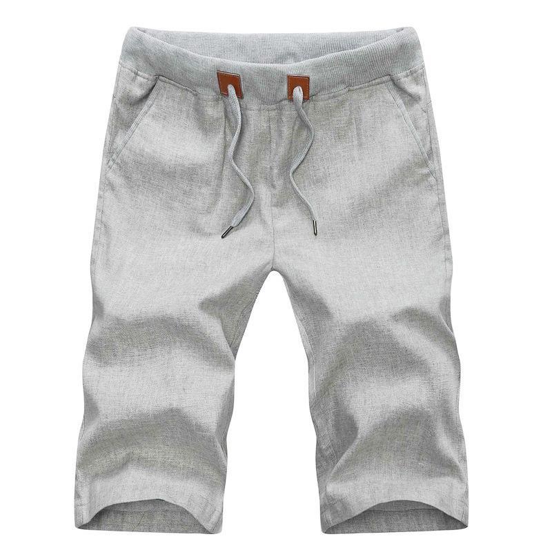 2020 Yaz Casual Keten Erkekler Kısa Pantolon Katı İnce Rahat Plaj Erkek Bermuda Şort Y200831