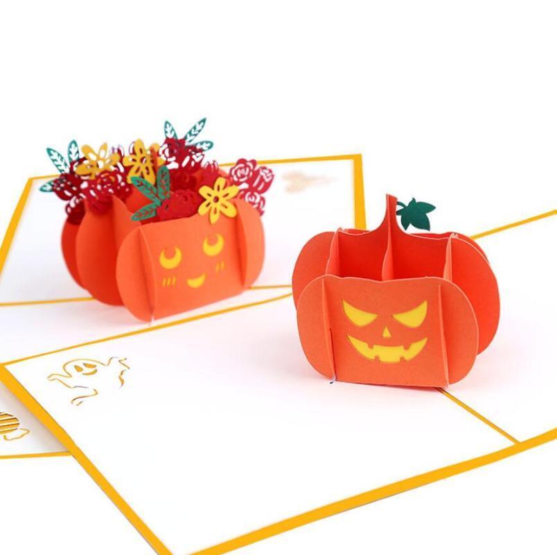 10pcs main Kirigami Origami Halloween citrouille Cartes de voeux 3D carte d'invitation pour Noël fête de mariage cadeau d'anniversaire