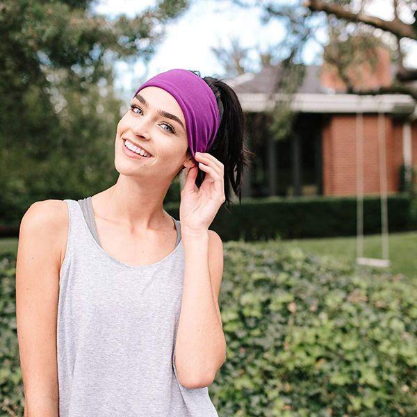 Mens Headbands Summer Fashion Headscarf Yoga Fitness Headband Solid Color Elastic Cotton Headband Mens Running Sports Sweat-Absorbent Headba