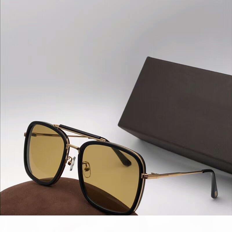 HUCK FT 0665 gafas de sol negras Brown Gafas hombres Sonnenbrille gafas de sol de las gafas de modo nuevo con la caja