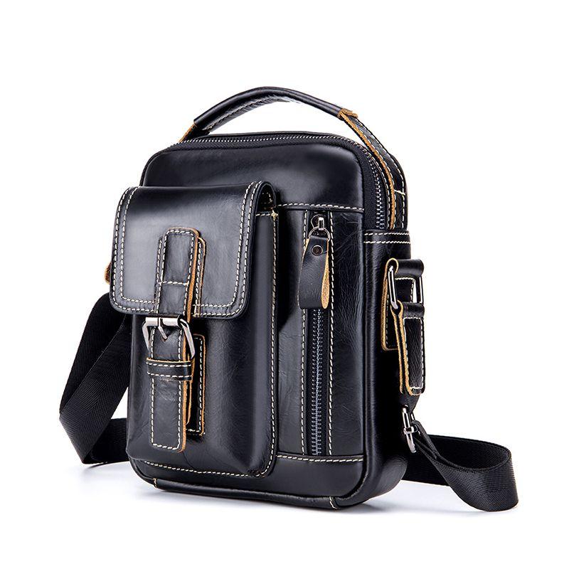 Mens Genuine Leather Multi-Function Retro Messenger Bag High Quality Large Capacity Multi-Function Casual Mens Messenger Bag