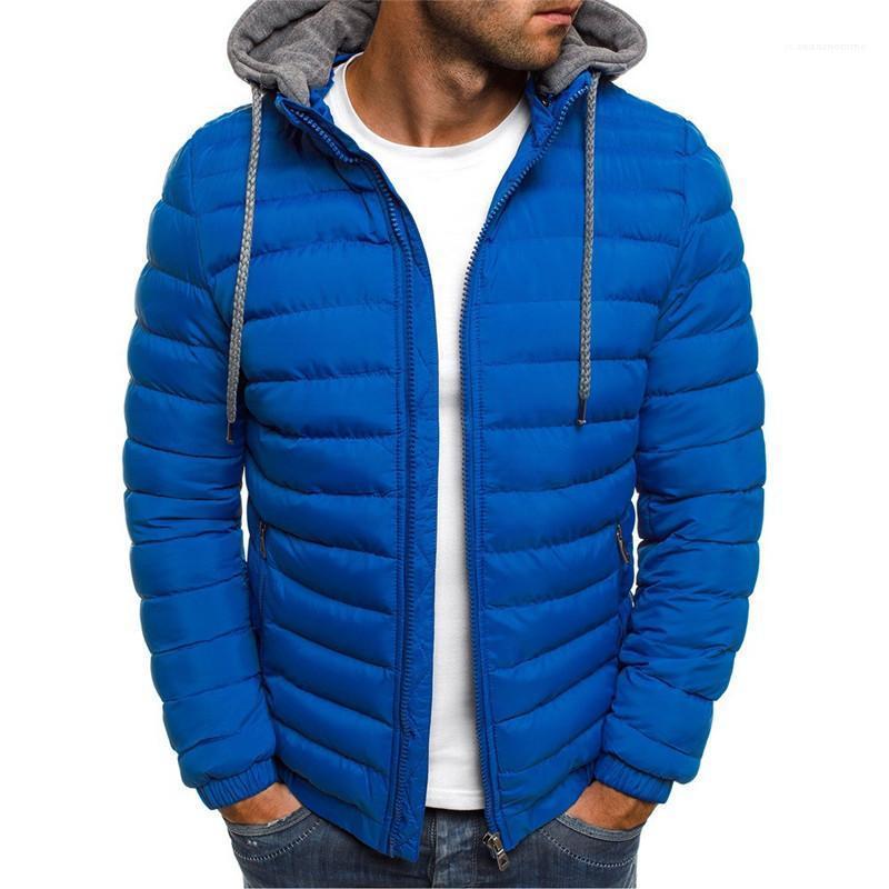 Mäntel beiläufige Brife Solid Color Männer Kleidung Herren Designer-Jacken-Winter Mode Reißverschluss Mens mit Kapuze