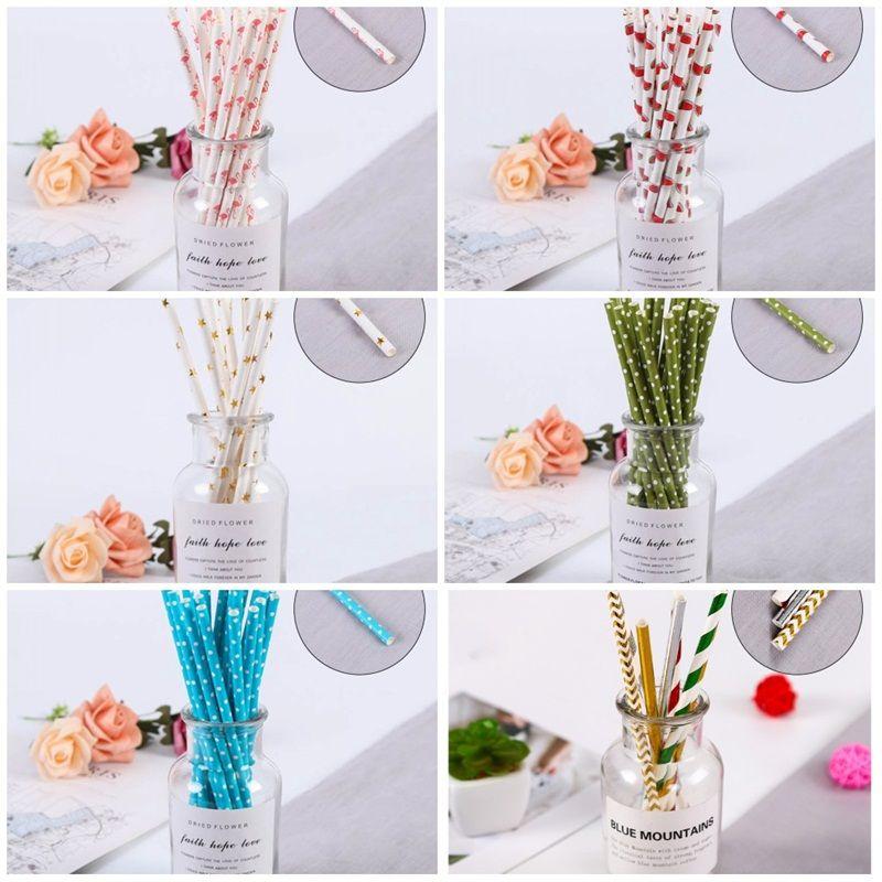 Degradable Straw Disposable Art Paper Suction Tubes Tubularis Creative Drinking Glasses Dots Stripe Kitchen Bar Accessories 0 06jl D2