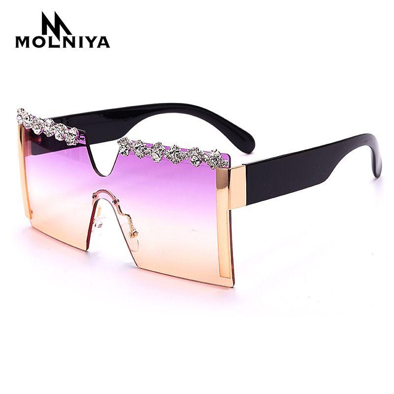Occhiali da sole Quadrato di lusso Diamante Diamante Uomo 2021 Piatto Top Crystal Punk Occhiali da sole Strass Specchio Strass Rosso Viola Eyewear UV400