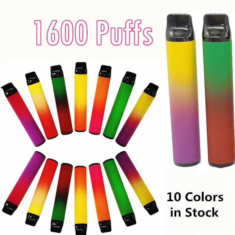 En Yeni 1600 puflar Tek Kalemler Pod Cihazı Taşınabilir Kit hazır dolu Kartuşları Vape Kalem buhar 6.5ml 1000mAh Custom Made 10 renkleri boşaltın