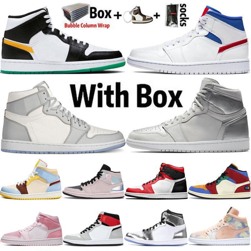 Nike Air Jordan 1 Retro 2020 Jumpman العليا OG 1 1S طوكيو ديو ضوء دخان أحذية الرجال لكرة السلة الحرير الأفعى حجر السج UNC مصمم الرياضة المدربين احذية 5،5 حتي 12