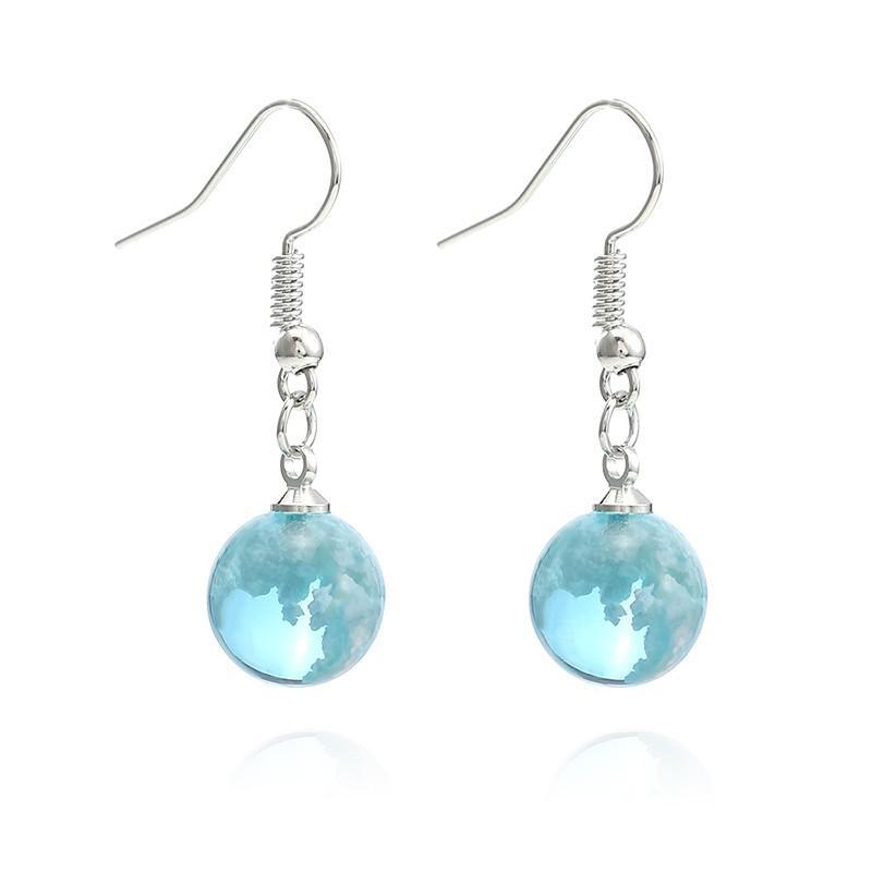 Blue Sky Белое Облако форме шара Смола падение мотаться серьги моды Крюк серьги Творческие подарки для женщин ювелирные изделия