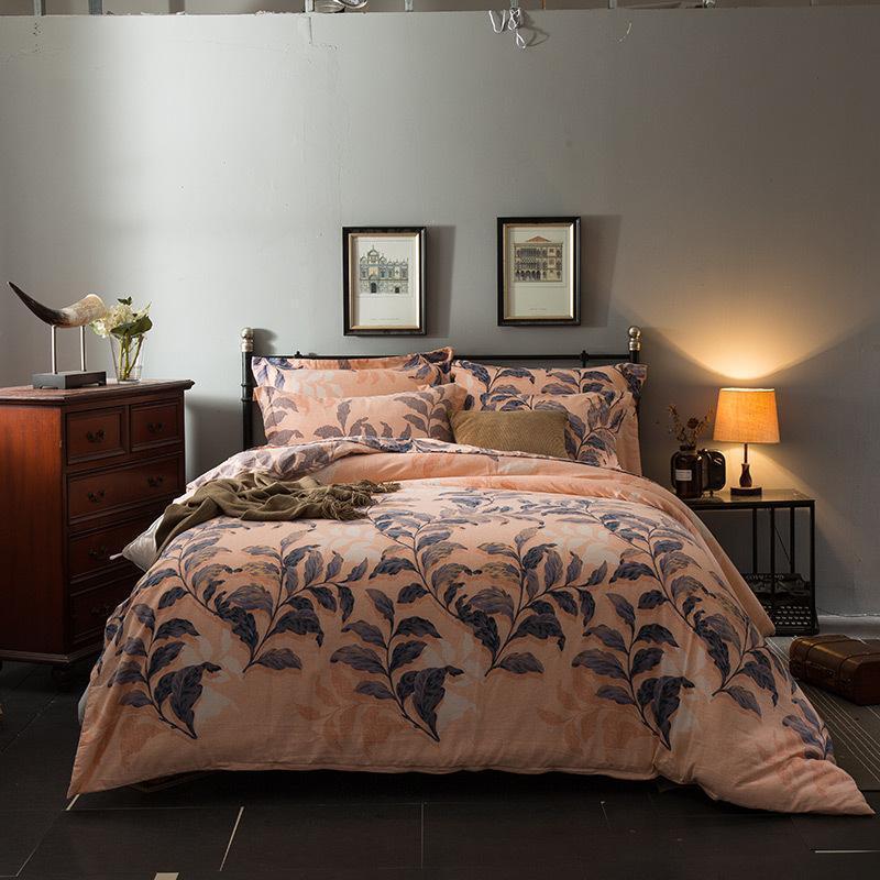 Folhas Vintage impresso capa de edredão definido Heavyweigh suave e quente 100% algodão escovado cama conjunto Cobertor tampa lençol fronha