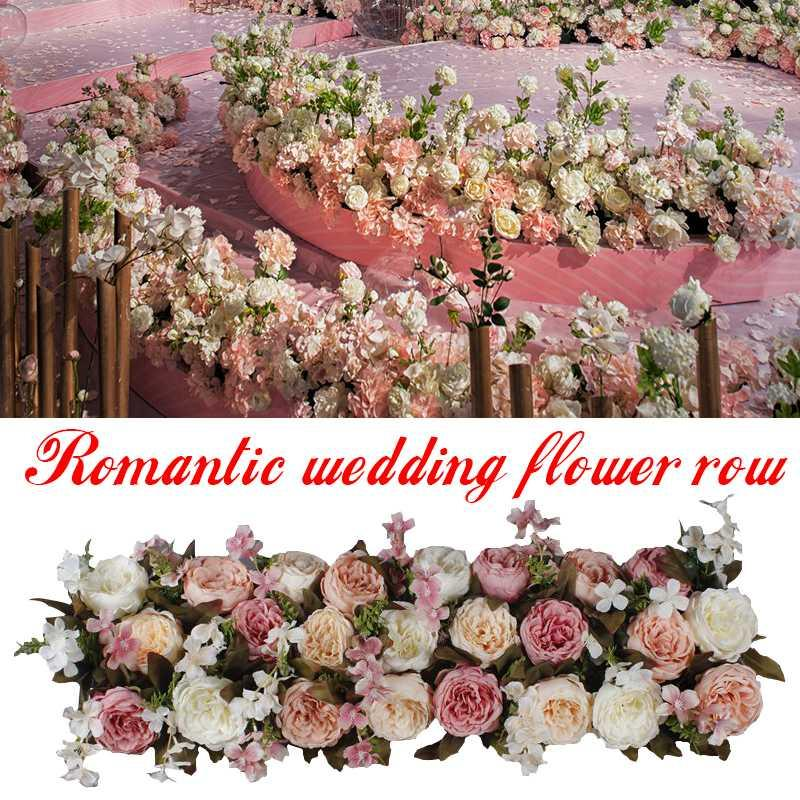 1M camino Citado Flores artificiales boda decoracion flor Pared arqueada puerta tienda hilera de Flores ventana
