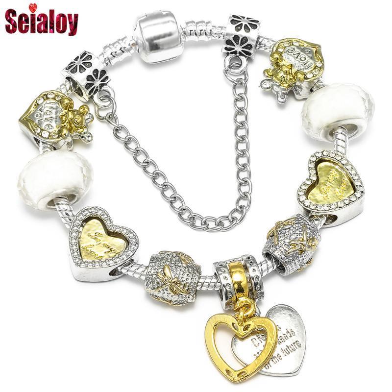 Fashion Gold-Zukunft Seed Charm-Armband-Armband Original-Zwei-Ton-Herz-geformte Maus Perlen Armbänder für Frauen Männer Schmuck