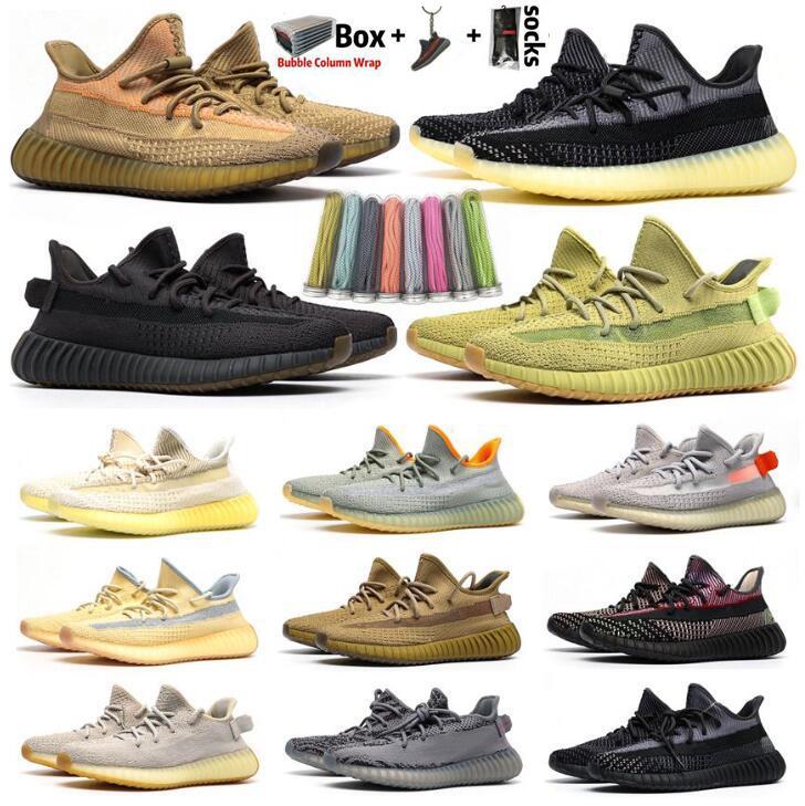 2020 Kanye West das mulheres dos homens Running Shoes Zebra Cinder cauda luz reflexiva ABEZ Mens linho Formadores tênis com Box