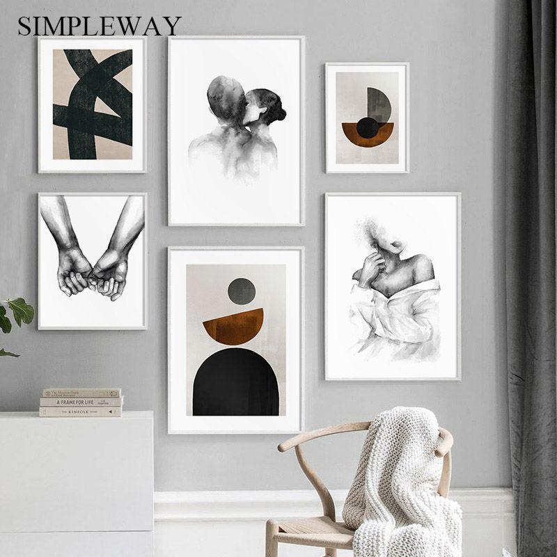 Hand mit Hand abstrakte Leinwand Nordic Poster Malerei und Druck-Retro-Wand-Kunst-Dekoration Bild Modern Living Room Home Decor