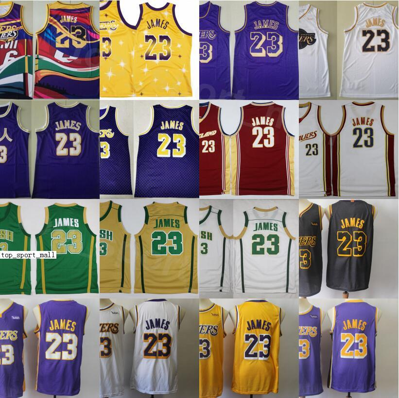 Hombres LeBron 23 James Basketball Jerseys Vintage Tune Squad Looney Tunes Steinst St. Vincent Mary High School Irlandés Púrpura Amarillo Blanco Rojo