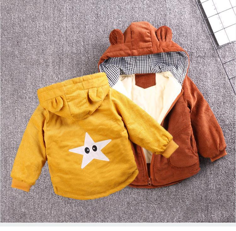 Escudo bebés de los muchachos de moda para niños de la chaqueta 2020 de la capa del invierno del bebé niños chaqueta caliente del algodón de abrigo de recién nacidos para ropa infantil CX200811