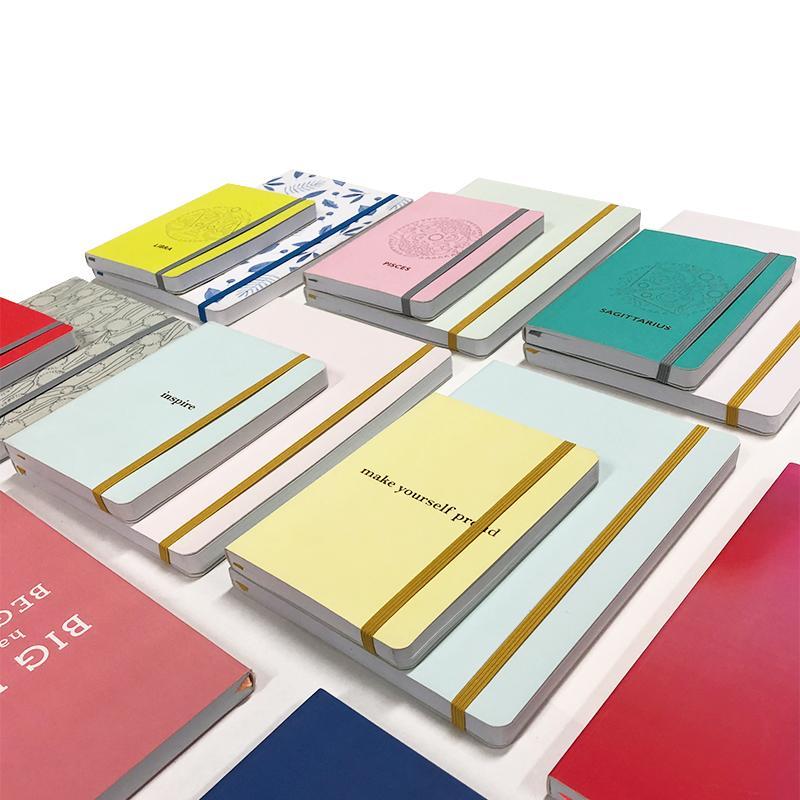 مصنع ملون معكرون تغطية يوميات غلاف فني مخطط A5 مخصص احباط المطبوعة شعار المحمول