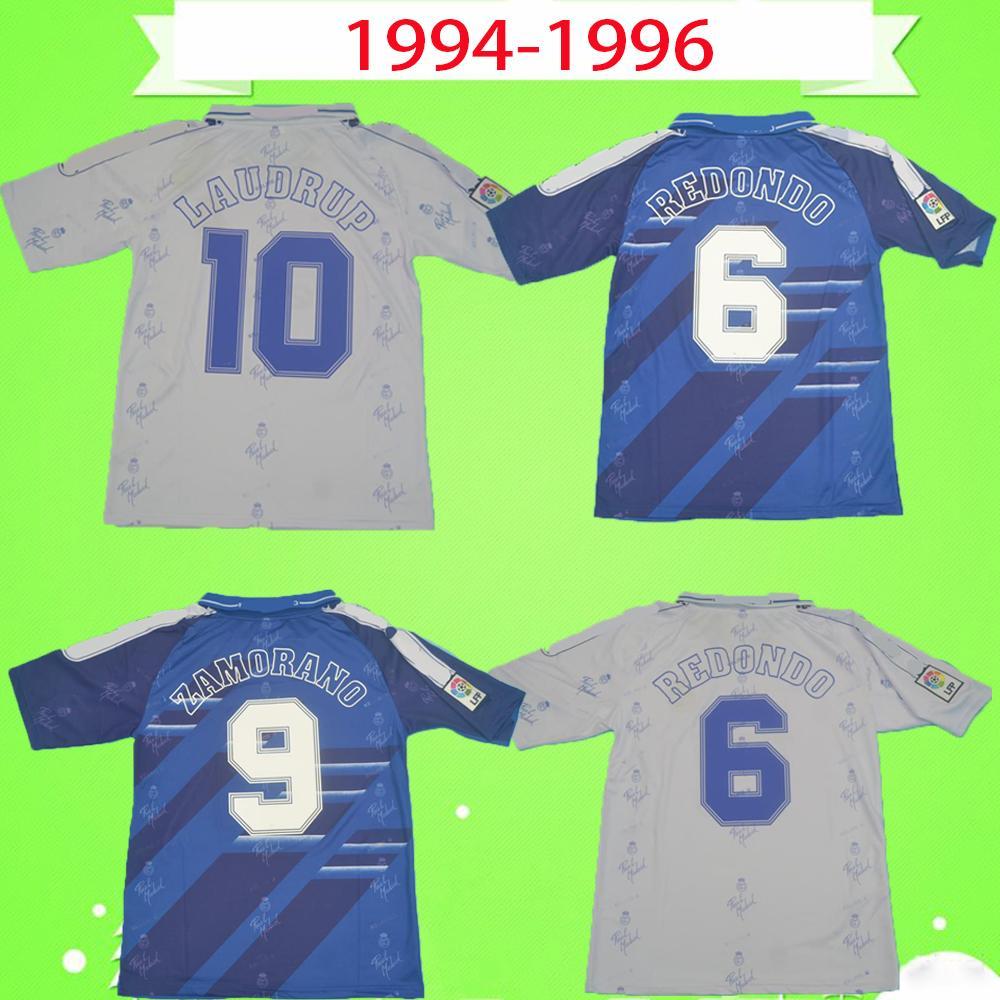 Acquista 1994 1996 Real Madrid Retro Soccer Jersey 94 96 Camicia Da Calcio Vintage Classic Camiseta Casa Away Raul Zamamorano Redondo Laudrup Alvaro A ...