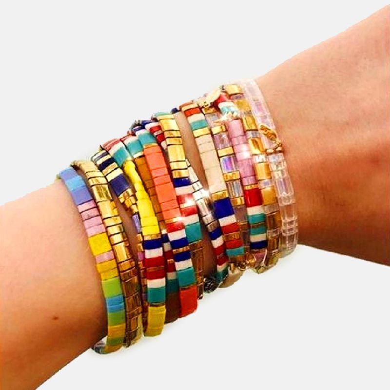 Joyas de colores de las mujeres de Bohemia pulsera esmalte apilable brazalete tramo de playa de regalo